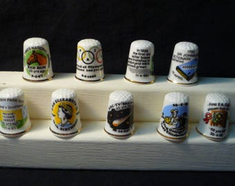 Thimbles Historic Days in April Set of 9 Commemorative Birchcroft Fine Bone China Thimbles