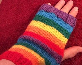 Hand knitted fingerless rainbow gloves