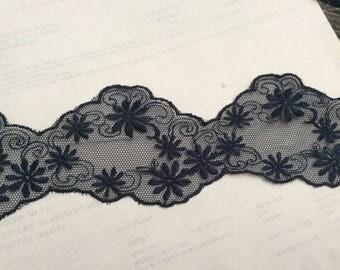 Dark blue wave tulle lace 6 cm width