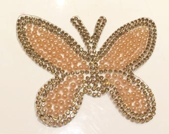 Rhinestone Butterfly fusible 8 * 6 cm color gold and salmon