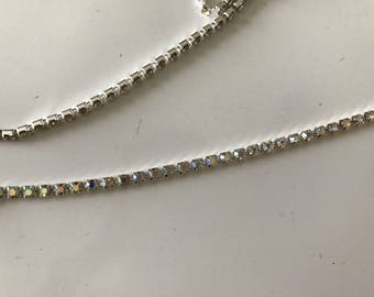 3 mm rhinestone chain dense silver metal AB color