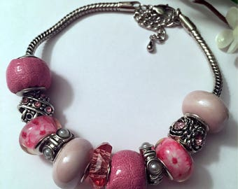 Pink & White European Beaded Bracelet