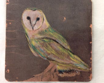 Barn owl single coaster