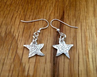 Silver Starfish drop earrings, Starfish drop earrings, Silver drop earrings, silver starfish jewellery, starfish, jewellery, drop earrings