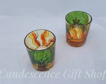 Tea light holder tree and sun hand painted decorative glass votives