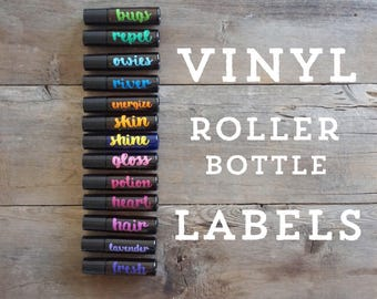 10ml Essential Oil Roller Bottle Labels with Cursive Font - 10 Labels - 30 Color Options - LABELS ONLY