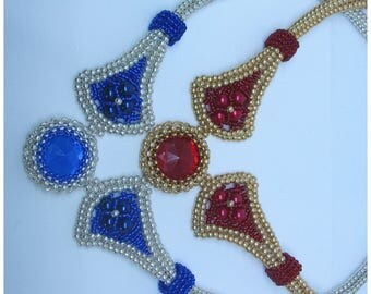 Gold Red and Silver Blue Beaded Necklace