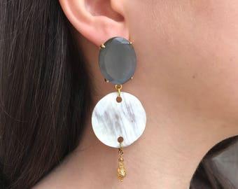 Stone and light horn earrings