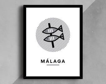 Malaga Print, Sardine Print, Spain Print, City Art, City Wall Art, Wall Art, Printable Art, City Poster, Travel Print, Line Art