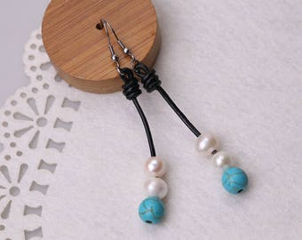 Women Pearl Earring on Black Leather Cord,Handmade Natural Stones Earrings,Round Turquoise Blue Stones Jewellery Girls Fashion
