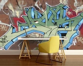 GRAFFITI wall mural, graffiti wall decal, graffiti wallpaper, self-adhesive vinly, graffiti street wall mural, graffiti art wall decal,