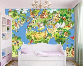 world map wallpaper, children world map, kids world map wall decal, world map wall mural, education world map, kids world map decal