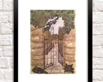 Original watercolor landscape print, Green garden tree painting, Garden gate landscape print of original painting