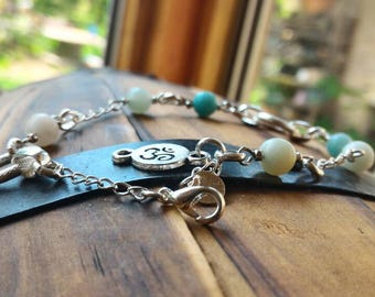 Healing stone, Amazonite 925 silver bracelet