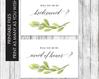 Will You Be My Bridesmaid, Bridesmaid card printable, bridesmaid Gift, Will you be my bridesmaid card, Rustic Bridesmaid, Greenery card