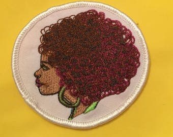 African American Woman Patch Afro Patch, Black Woman Patch, Natural Hair, Afro, Black Pride, Kinky curly patch, Melanin Poppin