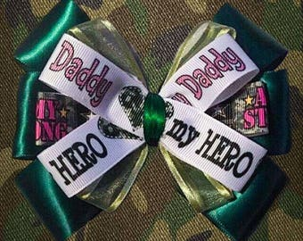 Daddy My Hero Army Military Hair Bow Accessory