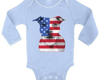 USA Flag Pitbull Baby Long Sleeve Bodysuits Tops Bodysuit American Pitbull 4th of July Gift Independence Day