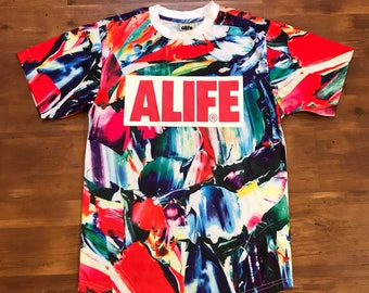 ALIFE Multicolored T-shirt NEW Crazy pattern Soft silky material Size small High quality designer New York Rocksmith Crazy graphics hip hop