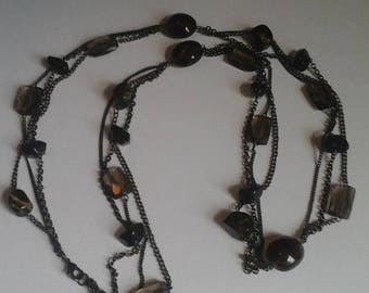 Vintage Black Chain and Beaded Three Strand Necklace