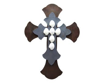 """Large Rustic Antique Wall Cross 12.5"""" x 17"""" Brown Gray White Layered Unique Decorative Distressed Décor For Hanging Decorating  Art Crosses"""