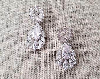 Cubic zirconia drop earrings - Eliza
