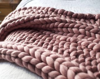 Chunky Wool Blanket | chunky knit Throw | Merino Blanket | Australian made