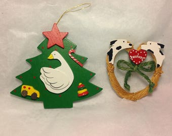 Interesting Pairing, handcrafted wqood Christmas Tree and Wreath with Dalmations