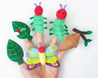 The very hungry caterpillar inspired finger puppets