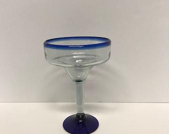 Novica Glass Mexico, Blue Rocco Margarita Glass, Mexican Margarita Glass,Mexican Bubble Glass, Retro Stemware, Southwest Barware, Blue Rim,