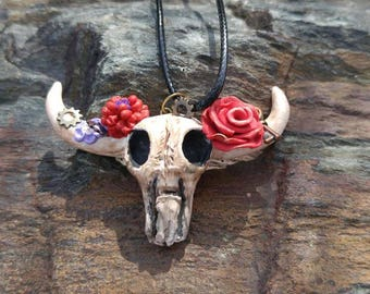 Steampunk Flower Cow Skull FREE SHIPPING  / steampunk steer skull pendant - halloween scary fall jewelry