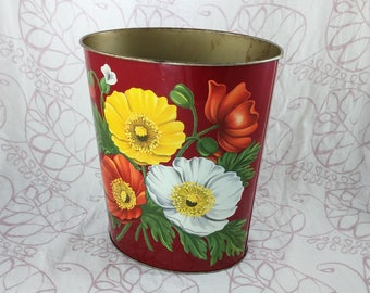 Decoware Metal Trashcan, Red with Poppies