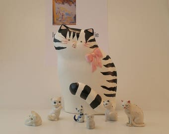 Beautiful Collection of Cats Porcelain / Ceramic / Vintage / Valentine's Day / Animal Trinke