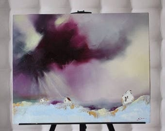 Picture on canvas Oil Paintings Abstraction Northern lights Northern Pole Winter landscape Winter home