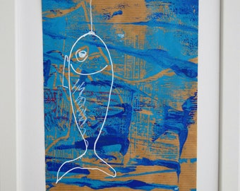 all media sardines Navy turquoise blue painting