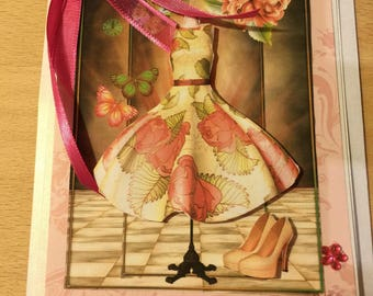 Dress pink flowers and pink bow