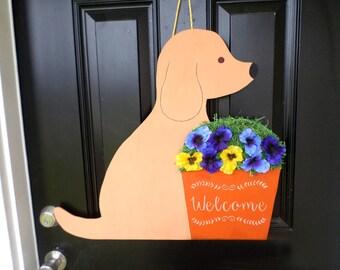 Sitting Dog Pansy Flower Pot