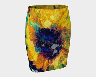 Sunflower Batik Fitted Skirt