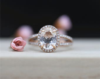 14K Rose Gold 7*9mm Oval Cut Morganite Engagement Ring Halo Diamond Engagement Ring Unique Diamond Wedding Ring Handmade Ring Valenting Gift