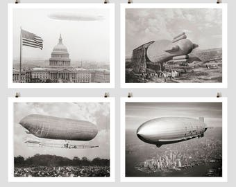 World War Airships, Blimps, Dirigible, Zeppelins, Black White Photography, World War I, Gift for Aviator, Pilot, Balloonist