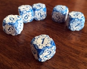 Engraved Frosted Snowflake Dice for Tabletop Gaming