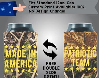 Made in America Patriotic Team Camouflage Cooler Custom Cooler Collapsible Fabric Can Cooler Double Side Print (America04)