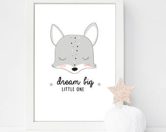 Dream Big Little One Personalised or unpersonalised Fox Nursery/Bedroom print