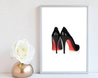 Christian Louboutin Shoe Print, Shoes fashion illustration, Fashion Wall art, Fashion Print, Fashion Sketch