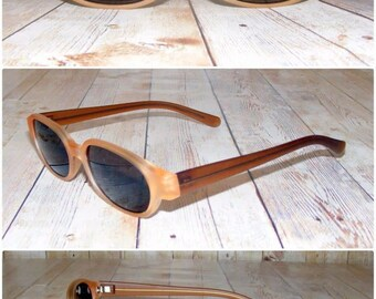 Vintage 90s deadstock slim sunglasses transparent matt brown (SG14)