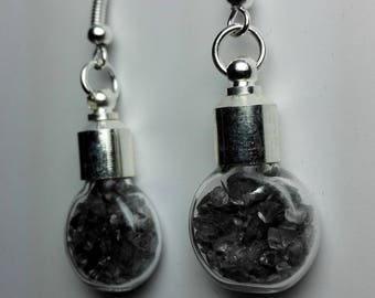 Earrings Filled with Mirror Glass Chips