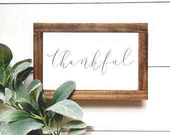 Mini Thankful Wood Sign