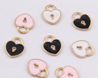 Lock Charms, 10PCS, 13*10mm, Enamel Charm, Little Lock Charm, Lock Charms, Jewelry Findings, Craft Supplies