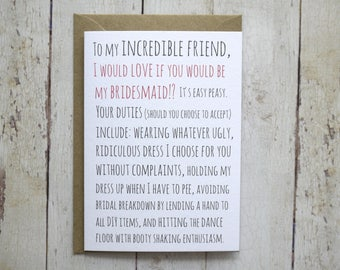 Bridesmaid card // Will you be my bridesmaid card // Wedding card // Funny bridesmaid card // Awkward bridesmaid card //