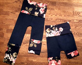 Scalable denim and flower shorts